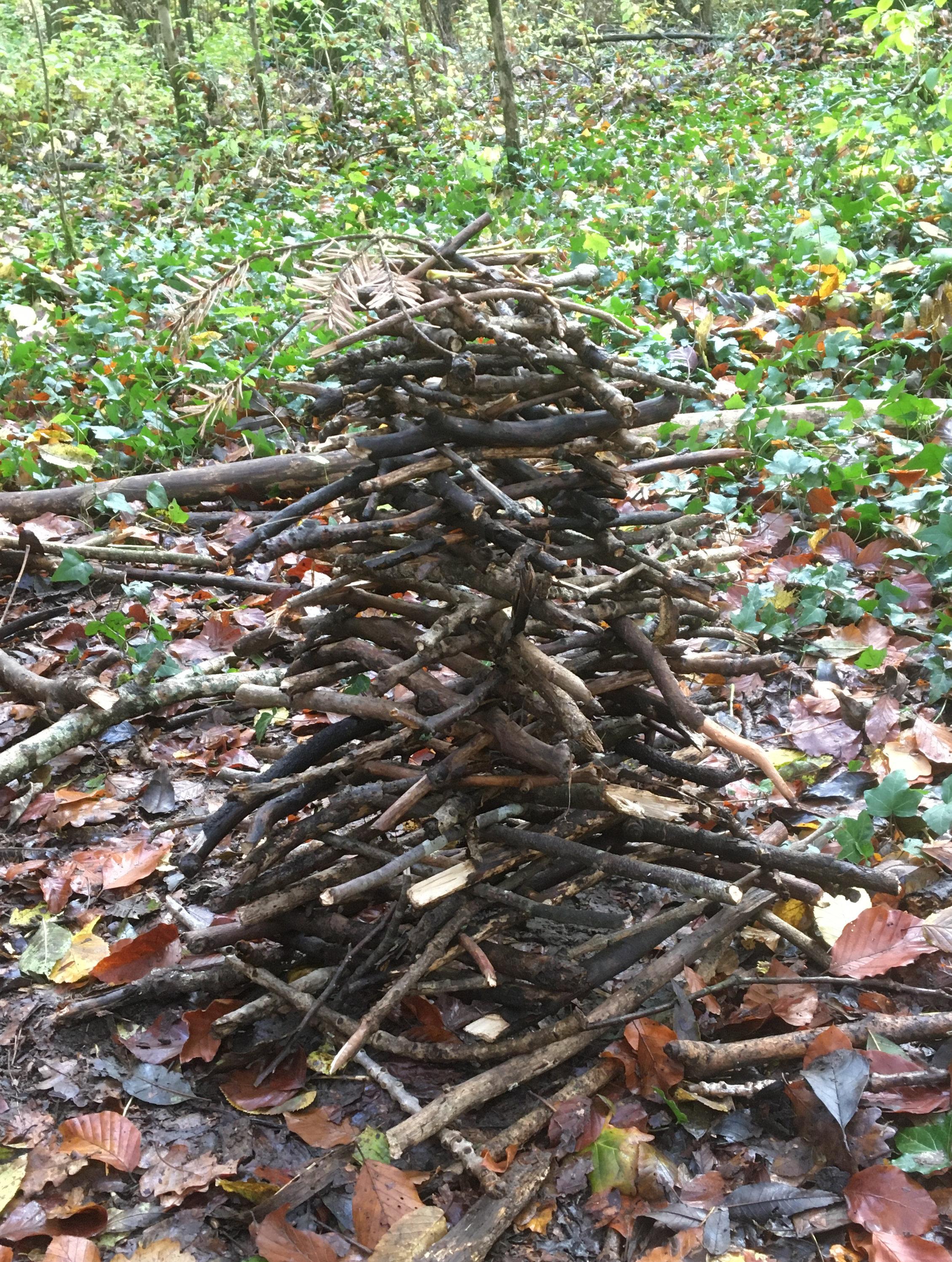 Hier ist Geduld und Konzentrations gefordert, bei dem Wald-Kappla aus Ästen und Stöcken entsteht ein Turm