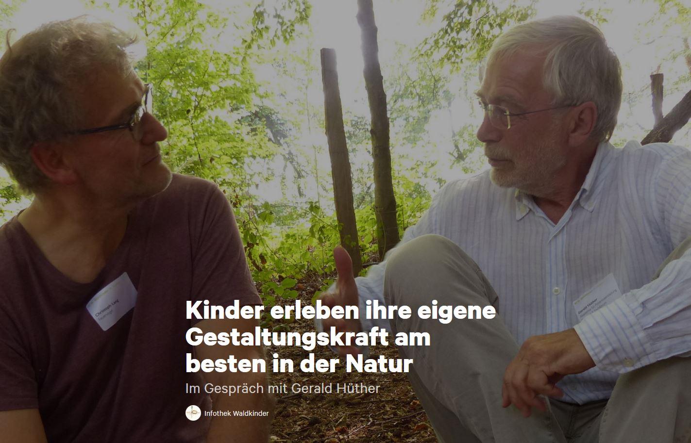 Christoph Lang im Gespräch mit Gerald Hüther am 3. Fachforum der «Waldkinder St.Gallen» hier im Wald vom Notkersegg. Sie vertiefen die Thematik und gehen der Grundfrage nach, «Ist Bildung ein Abenteuer?»