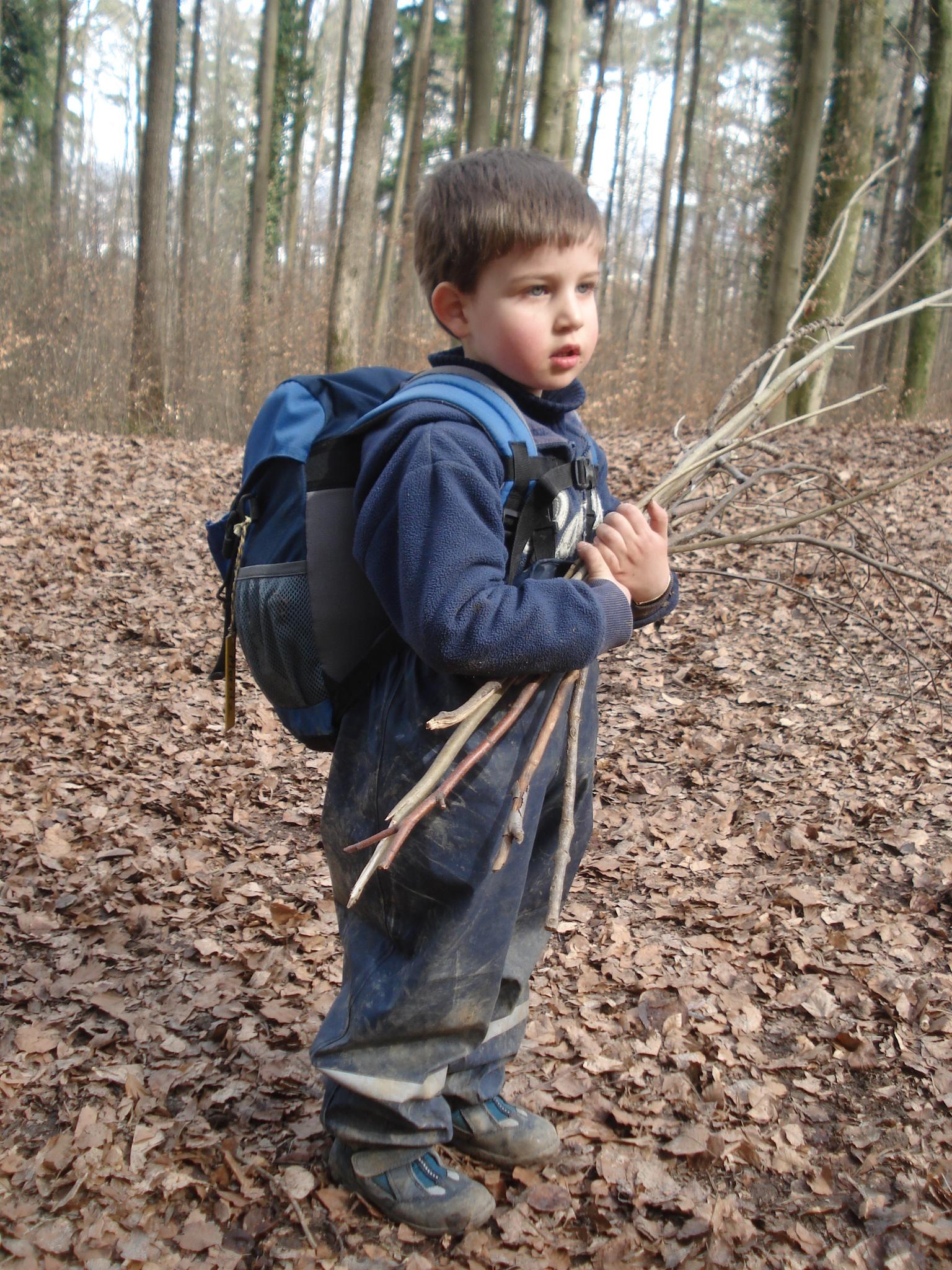 Kinder sollen im Wald mit ganz elementarem Spielmaterial wie Steine, Stöcke, Zapfen, Blätter oder Wasser spielen