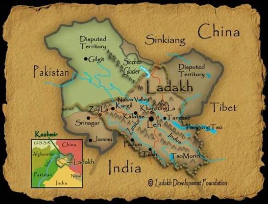 Map view of Ladakh
