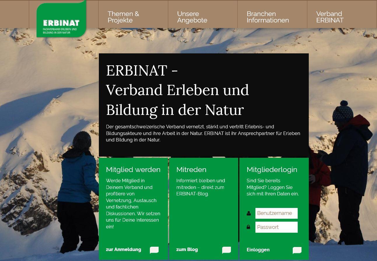Die Einstiegsseite der neuen Homepage von ERBINAT